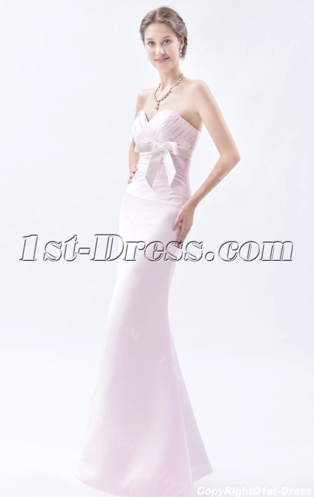 Pearl Pink Long Bridesmaid Dresses With White Sash 1st