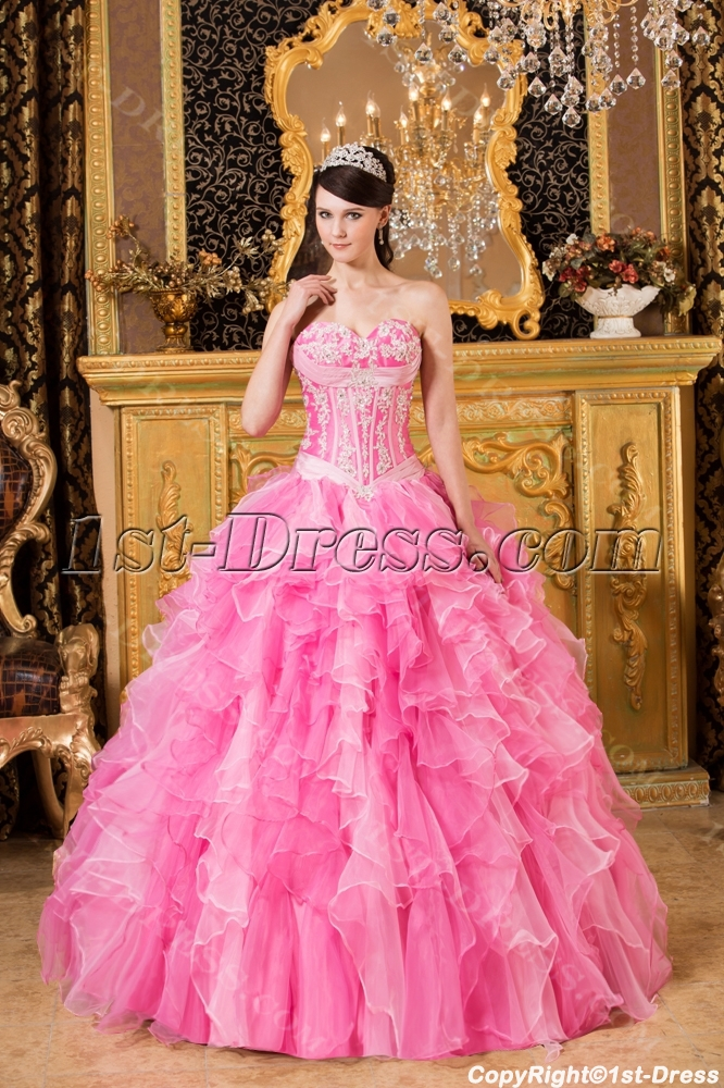 Pink Exclusive Puffy Quinceanera Dresses 2014:1st-dress.com