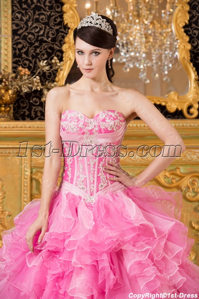 43ad5fc9d93 Pink Exclusive Puffy Quinceanera Dresses 2014 (Free Shipping)