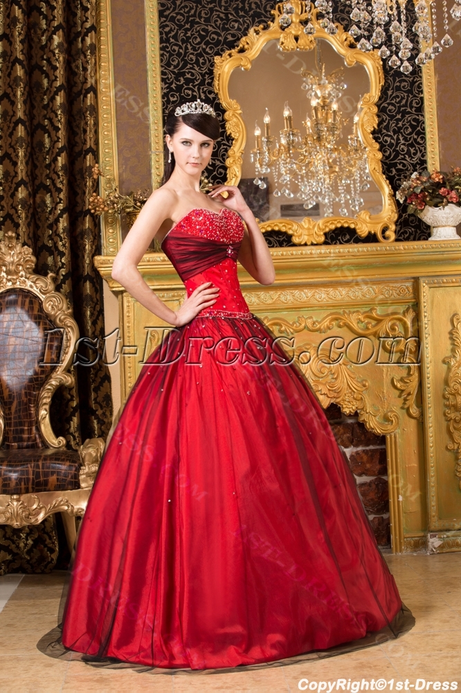 Red and Black Colorful Quince Gown Dress for Plus Size:1st-dress.com
