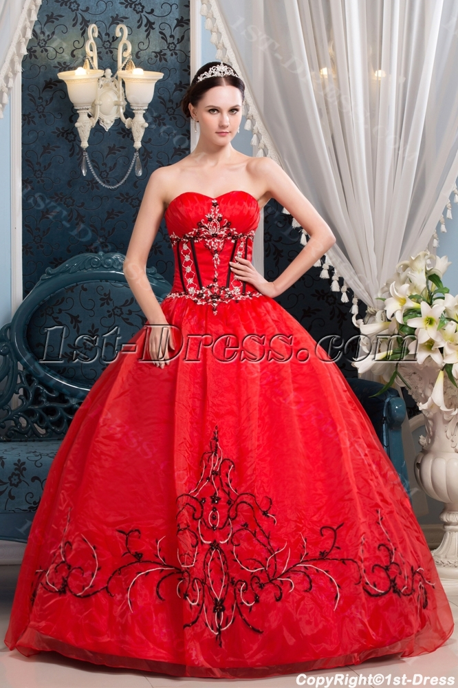 Red And Black Embroidery Popular Best Quinceanera Dress1st Dress