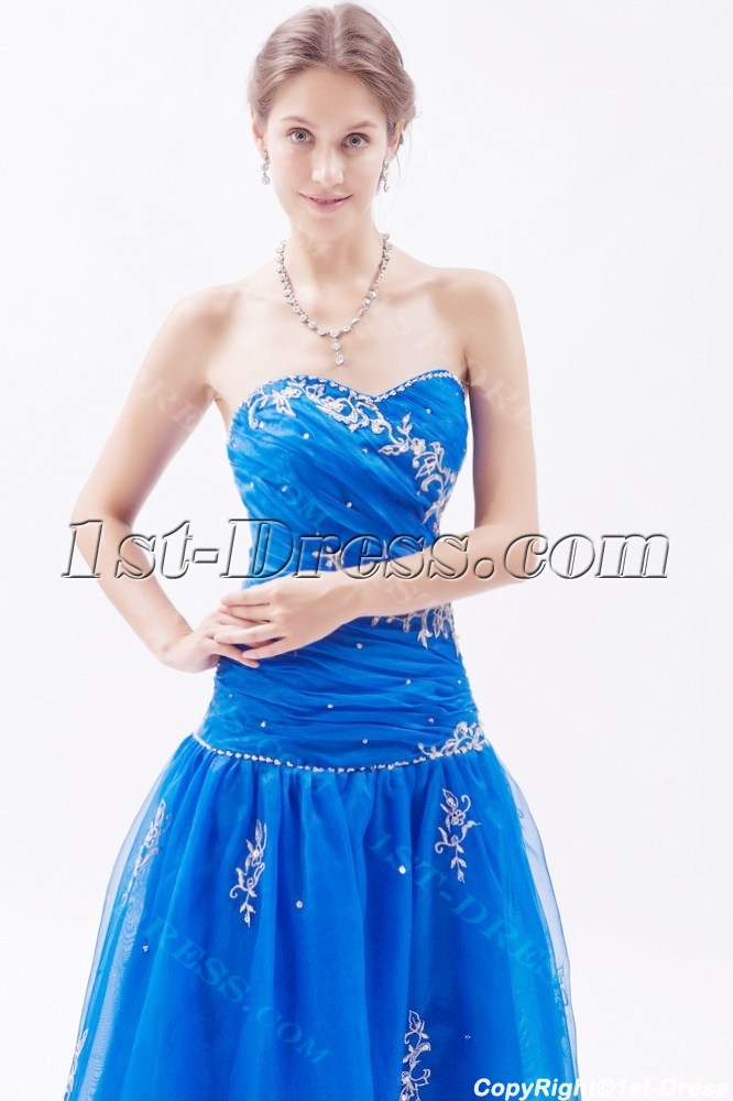 Royal Blue Masquerade Ball Gown with Corset Back:1st-dress.com