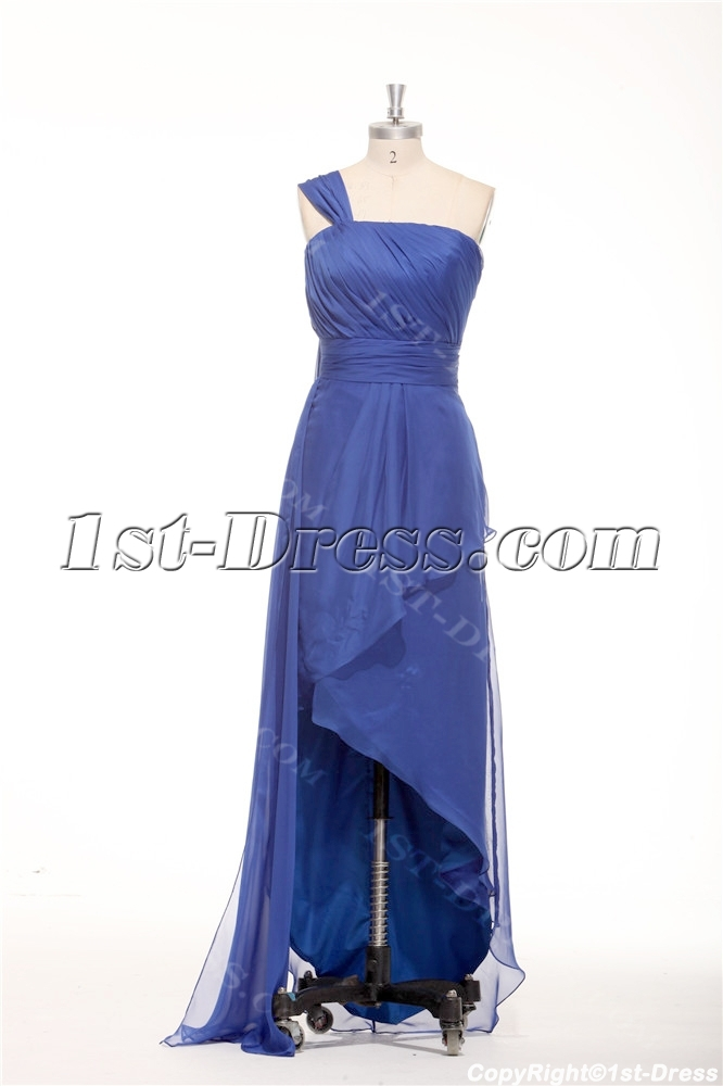Royal Blue One Shoulder Irregular Cut Plus Size Maxi Dress $173.00