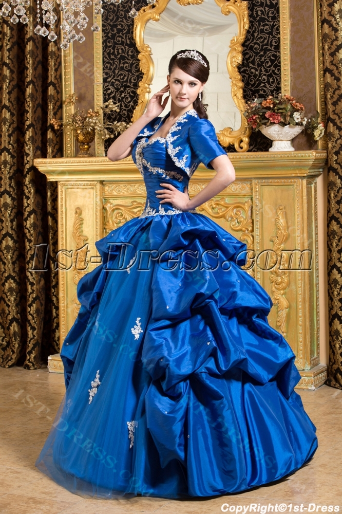 Royal Blue Pretty Quinceanera Dress with Short Jacket:1st-dress.com