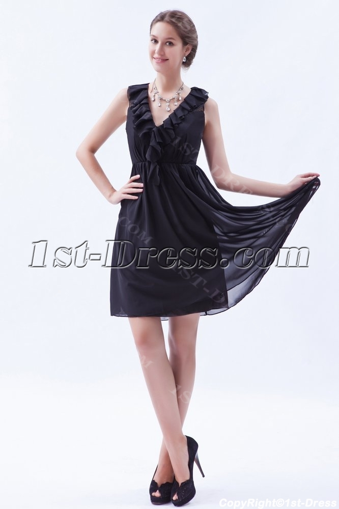 Ruffled Chiffon Little Black Dresses For Plus Size Women1st Dress