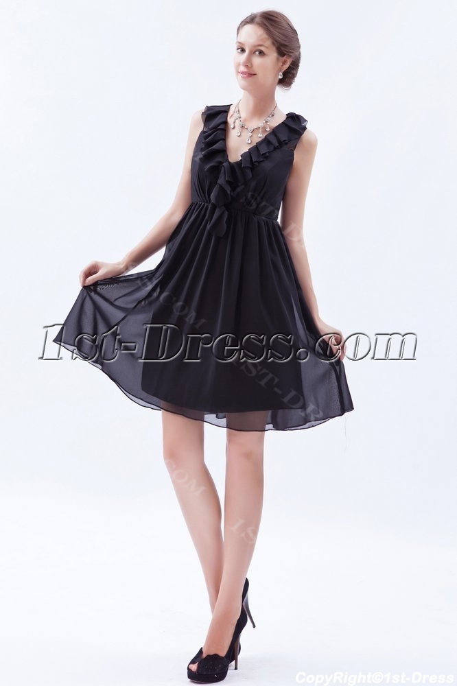Ruffled Chiffon Little Black Dresses for Plus Size Women:1st-dress.com