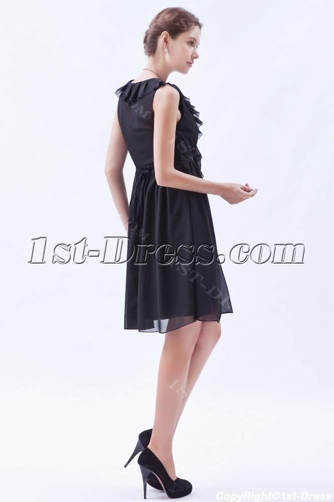 Ruffled Chiffon Little Black Dresses For Plus Size Women1st Dress