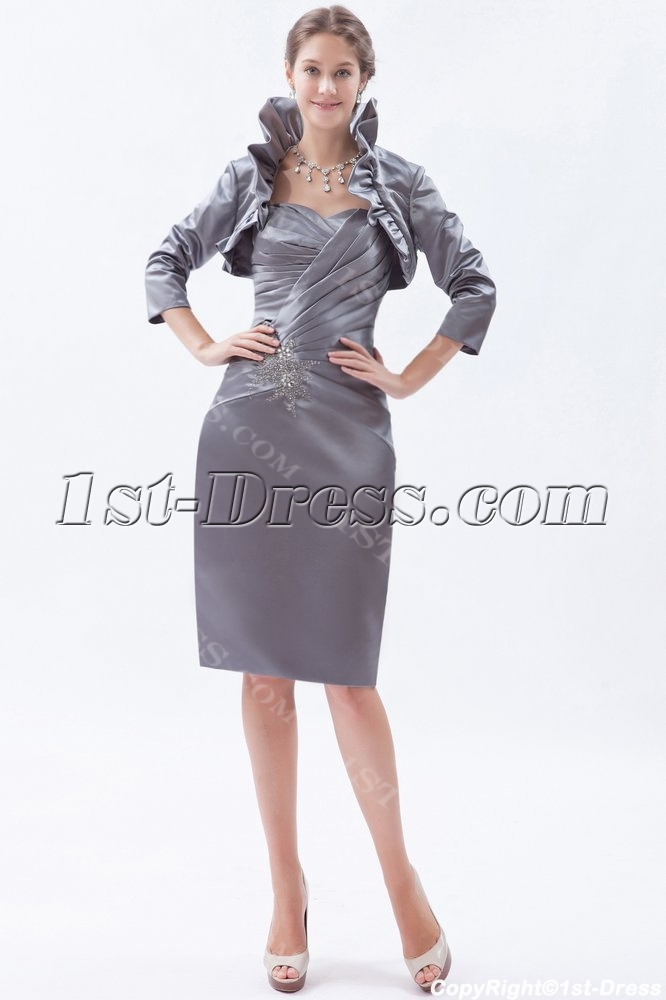 Silver Sheath Sweetheart Knee-Length Satin Mother of the Bride ...