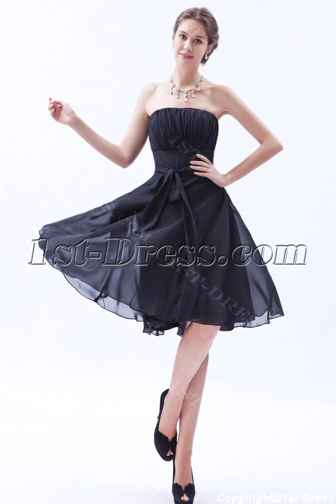 Simple Knee Length Chiffon Little Black Dress For Bridesmaid1st