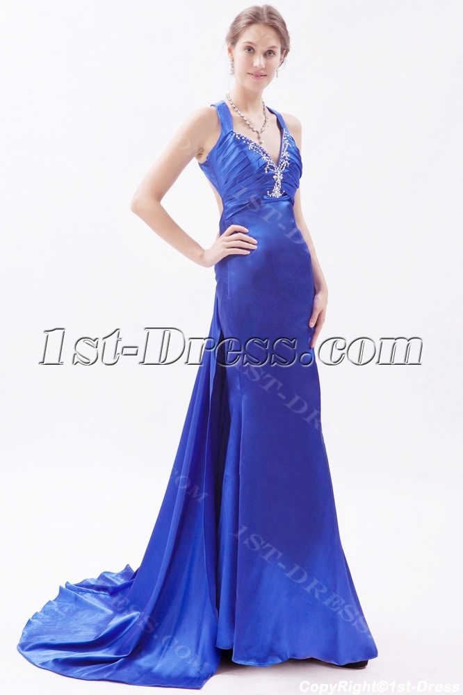 Slit Royal Blue 2014 Prom Dresses With Crossed Straps 1st
