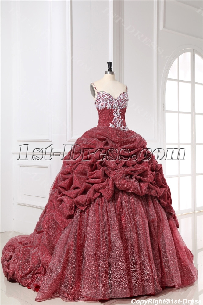 Spaghetti Straps Red Cinderella Quinceanera Gown 2017 Loading Zoom