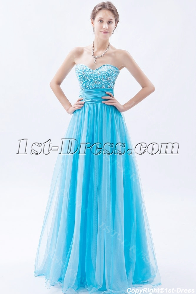 Strapless Long Aqua Blue Quinceanera Dresses 20131st Dress