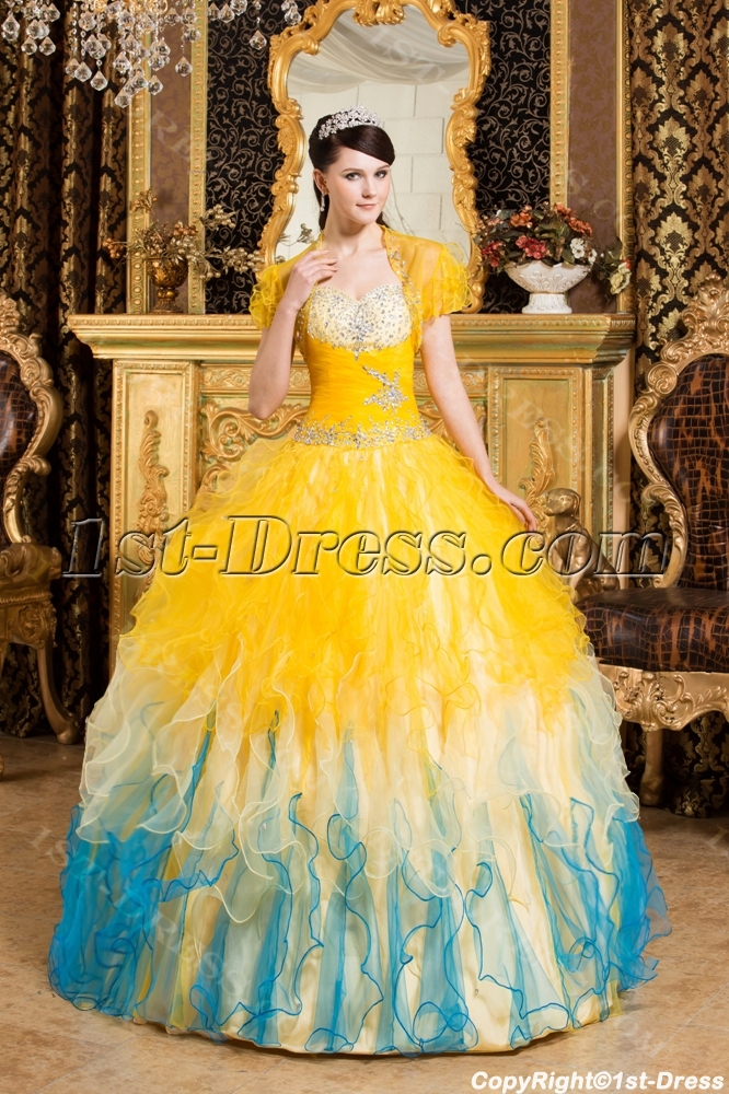 Sunflower Best Quinceanera Gown Dresses with Short Jacket:1st-dress.com