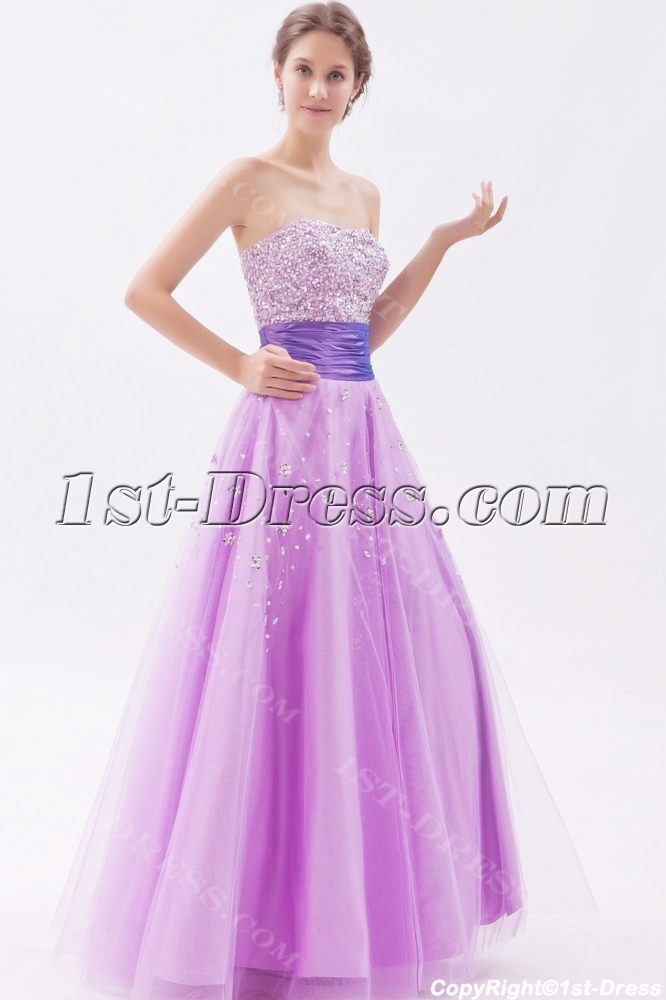 Sweetheart Long Lilac Beaded 15 Quinceanera Dresses1st