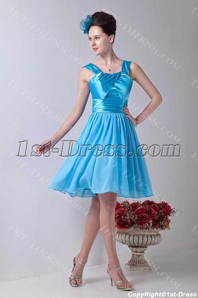 Tank Straps Aqua Short Prom Dress for Junior:1st-dress.com