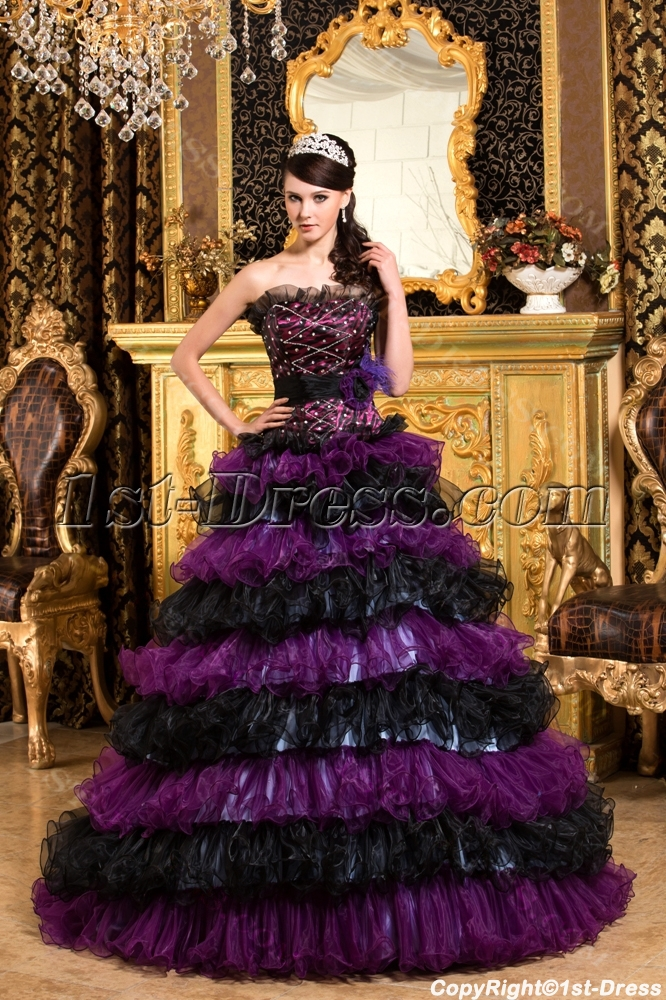 19fd3bd9991a2 Tasteful Black and Purple Puffy Colorful Quinceanera Gown $245.00