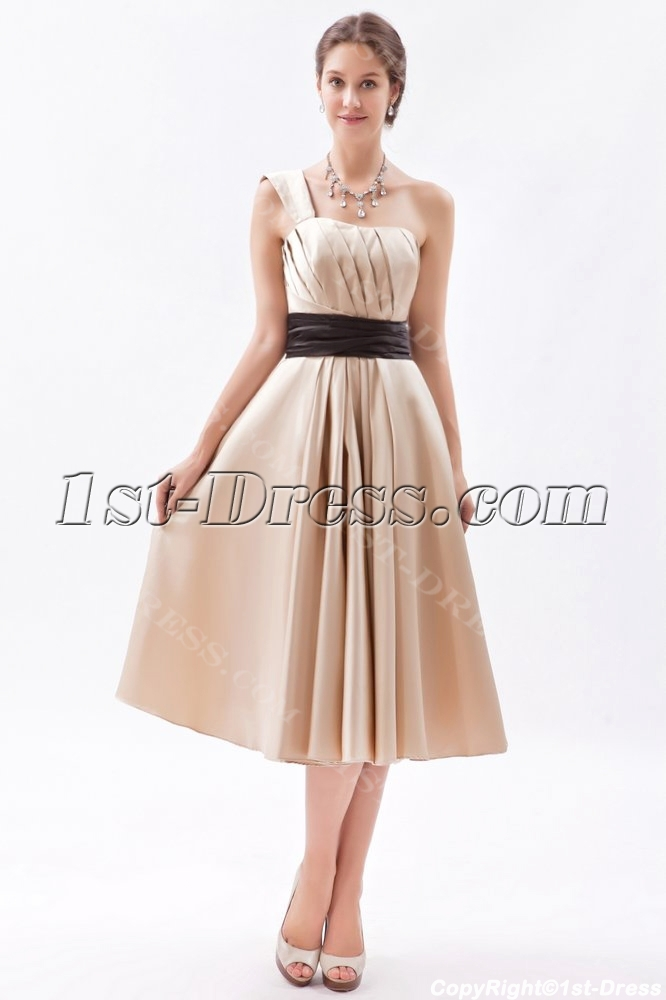 Timeless champagne knee length bridesmaid dress with one for Medium length wedding dresses