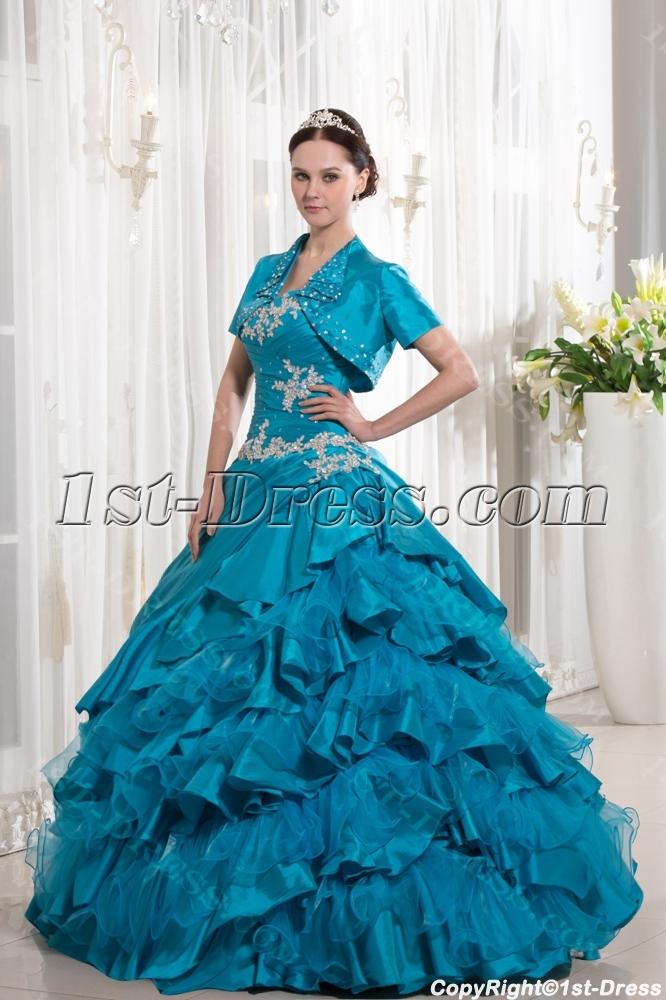 Turquoise Blue Ruffle 2014 Ball Gown Quince Dress with Jacket:1st ...