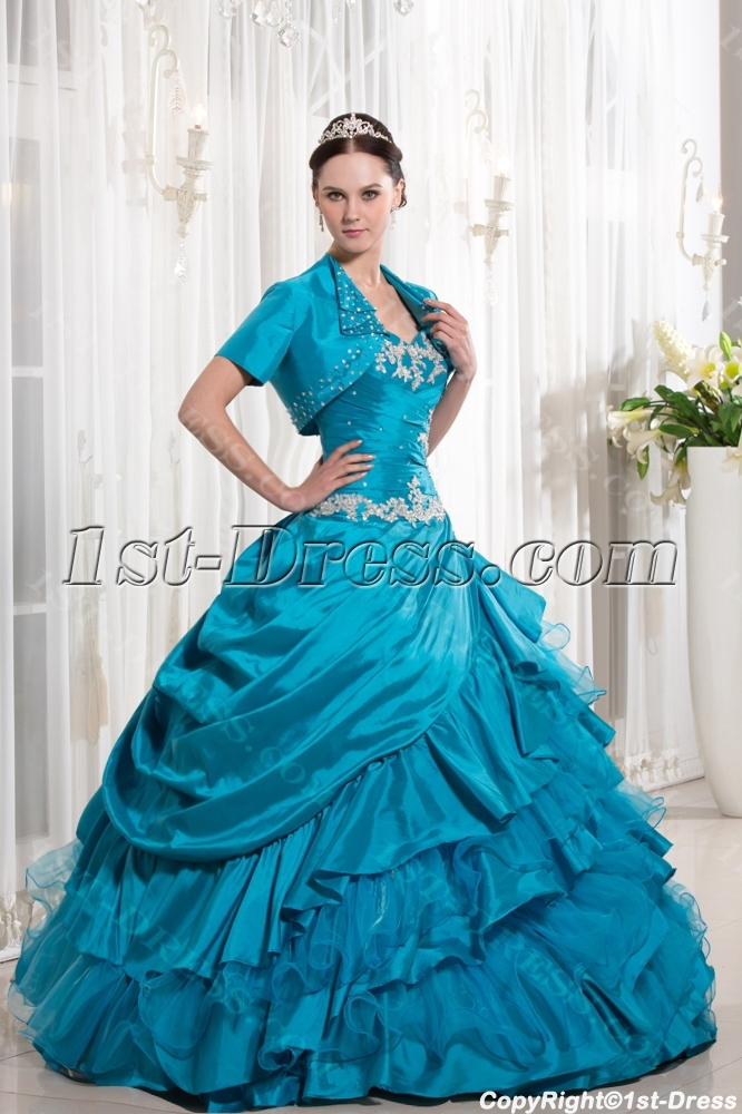 300ae15abbc Turquoise Blue Ruffle 2014 Ball Gown Quince Dress with Jacket 1st ...