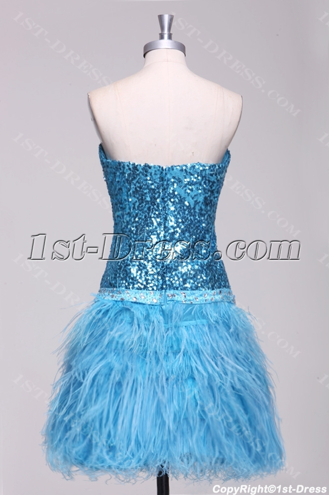 d1f8f6e154 Turquoise Ostrich Feather and Sequins Plus Size Cocktail Dress (Free  Shipping)