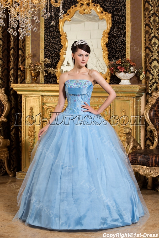Turquoise Puffy Romantic Princess Quince Ball Gown Dress:1st-dress.com