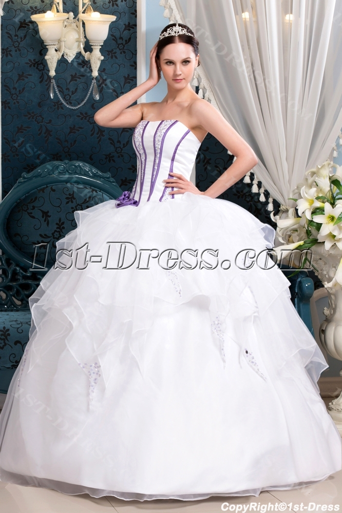 White And Purple Cinderella Quinceanera Dress 1st Dress Com