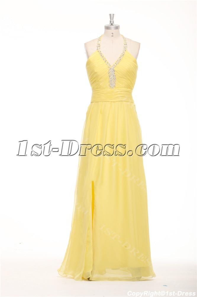 Yellow Beaded Halter Long Plus Size Club Dress $180.00