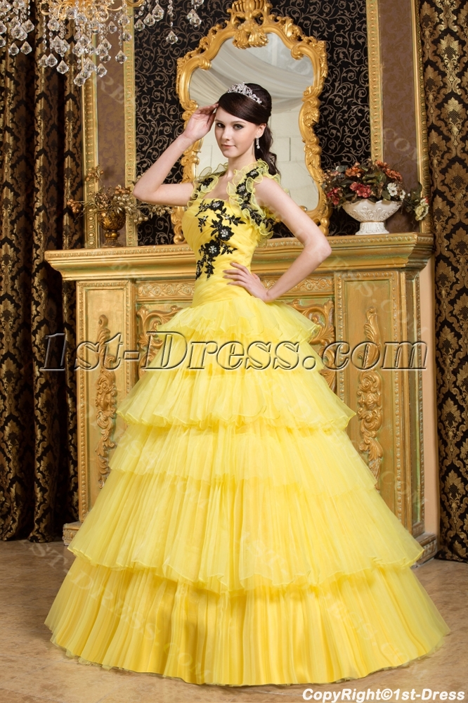 Yellow and black new arrival quinceanera dress 2013 1st for Can a yellowed wedding dress be whitened