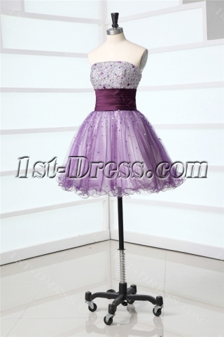Beaded Strapless Short Puffy Cocktail Dress