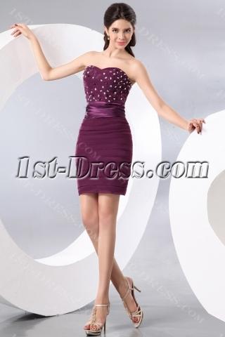 Beaded Stylish Grape Short Club Dresses