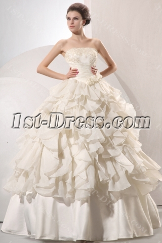 Beautiful Champagne Strapless Long Princess Ball Gown Dress