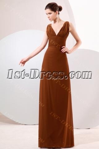 Brown Plunge V-neckline Column Homecoming Dress