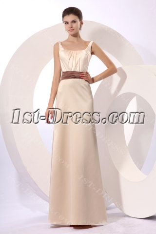 Champagne Modest Square Formal Evening Gown with Bow