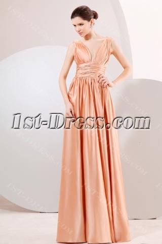 Champagne Plunge V-Neckline Long Evening Dress for Plus Size