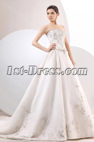 Chic Embroidery Organza A-line Ball Gown Wedding Dress