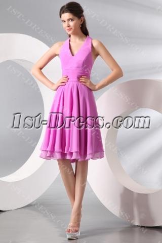 Chic Lilac Chiffon Halter Junior Prom Party Dress