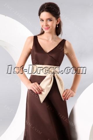 Chocolate Ankle Length Satin Bridesmaid Dress with Bow