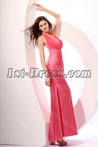 Dusty Rose Amazing Halter Sheath Discount Bridesmaid Gown
