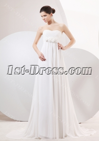 Elegant Chiffon Empire Maternity Wedding Gowns with Train