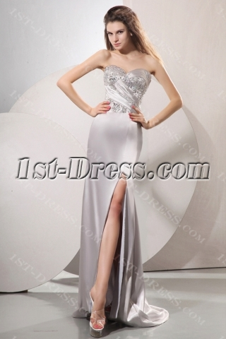 Fantastic Silver Long Satin Party Dress with Train