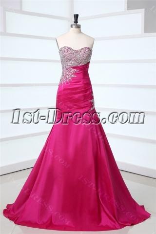 Fuchsia Long Magnificent Mermaid Prom Dresses