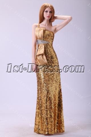 Gold Sequins One Shoulder Evening Dress 2013