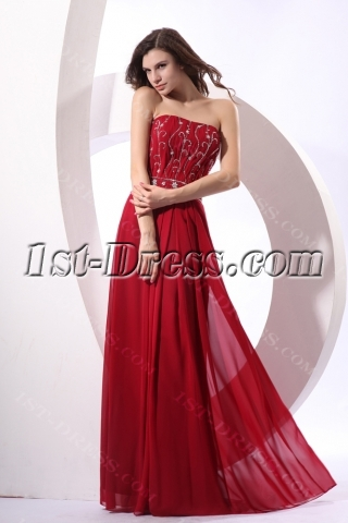 Gorgeous Burgundy Long Chiffon Plus Size Evening Gown