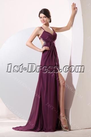 Grape Sexy Criss-cross Backless Evening Dress