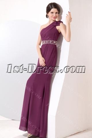 Grape Sheath Long One Shoulder 2014 Prom Dresses