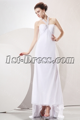 Halter Empire High-low Chiffon Informal Wedding Gown