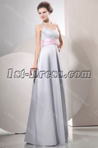 Halter Modest Satin Long Bridesmaid Dresses with Pink Ribbon