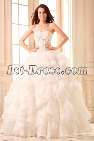 Illusion Sexy Puffy Ruffled Beach Wedding Dress