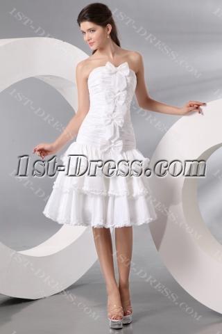 Ivory Taffeta Bow Short Bridal Gowns