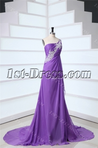 Lavender One Shoulder Maternity Empire Prom Dresses